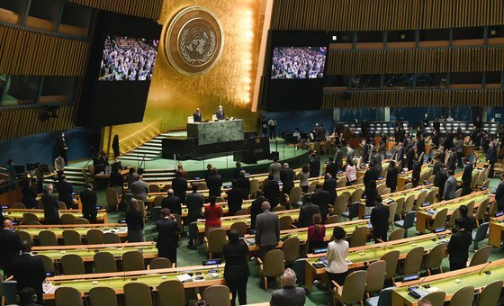 Minute de silence à l'ouverture de la 76e session de l'Assemblée générale des Nations Unies.