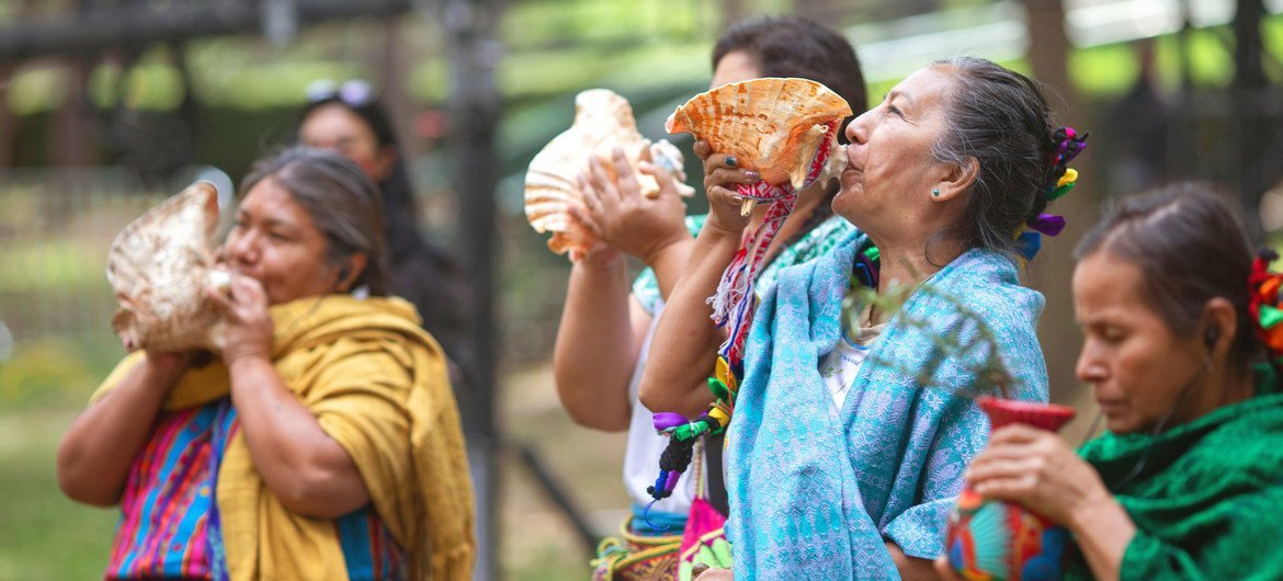 Indigenous women's groups perform a Tlalmanalli opening ceremony to kick off the Generation Equality Forum in Mexico.