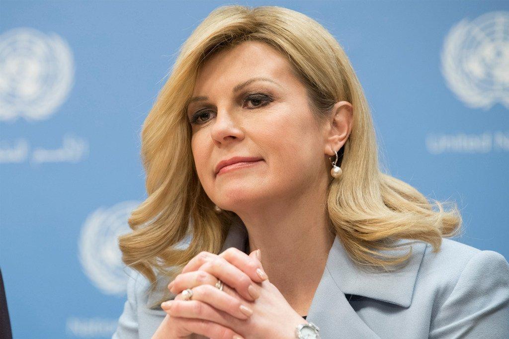 2019年3月12日,克罗地亚总统基塔罗维奇在联合国纽约总部举行的一个记者会上。