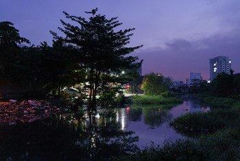 Le quartier pauvre de Stung Meachey, au sud de Phnom Penh, la capitale du Cambodge.