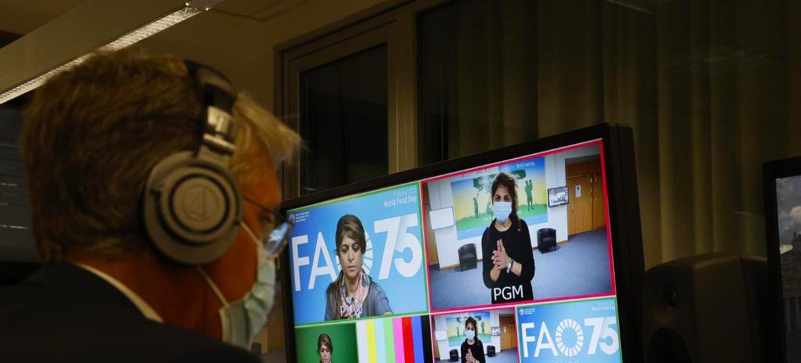 World Food Day gets underway at FAO headquarters in Rome, Italy.