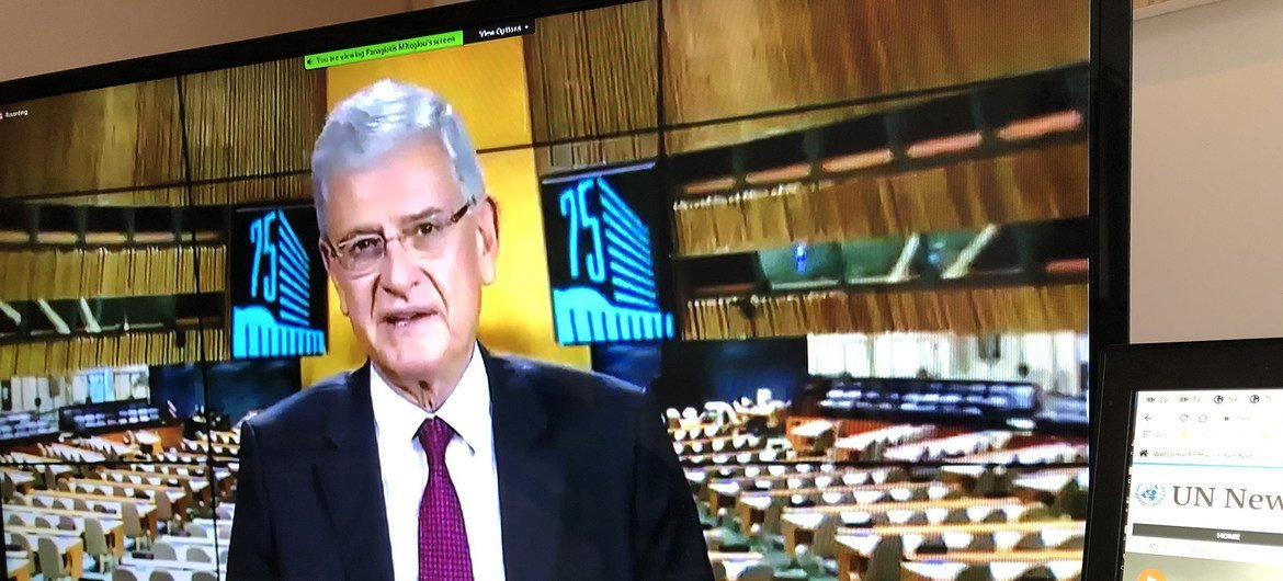The President of the UN General Assembly, Volkan Bozkir, addresses a virtual meeting to celebrate World Food Day 2020.