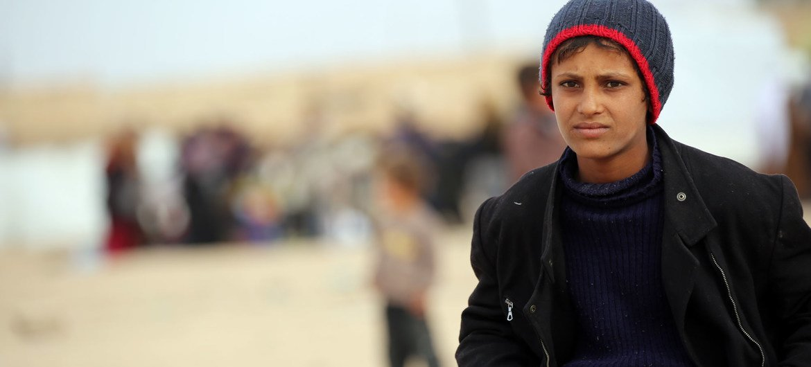"""A 12 year-old boy who fled to the Al- Hol camp in northeastern Syria says, """"it's very cold here and at night, the wind is so strong and cold that blankets are not enough to heat up""""."""