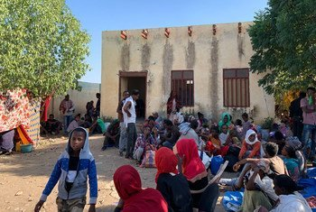 Kundi la watu waliokimbia machafuko Tigray Kaskazini mwa Ethiopia wakisubiri katika kituo cha mapokezi cha mpakani na Sudan