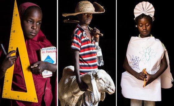 Um dia serei: professor: Sakima do Níger; pastor: Abdel, do Níger; enfermeira: Maimouna, da República Centro-Africana.