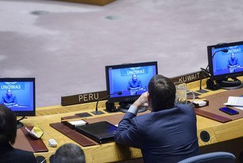 محمد بن شمباس (على الشاشة) ، الممثل الخاص للأمين العام ورئيس مكتب الأمم المتحدة لغرب أفريقيا والساحل يطلع اجتماع مجلس الأمن بشأن السلام والأمن في أفريقيا على الأسباب العامة للعنف المجتمعي والتطرف العنيف في المنطقة