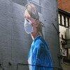 Un mural en Manchester, en el Reino Unido, representando a una enfermera.