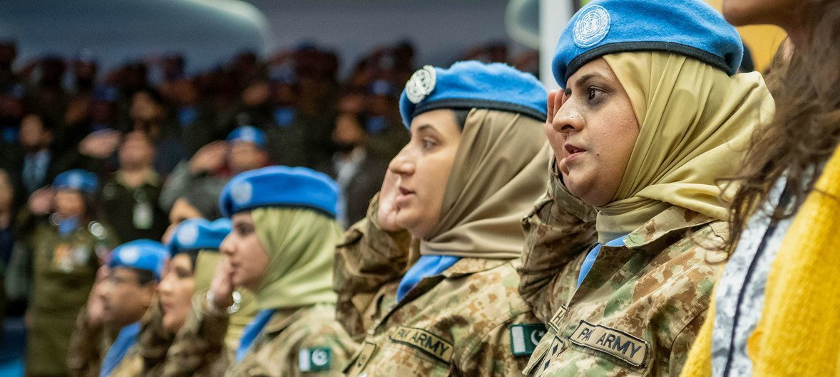 Pakistani women peacekeepers in the audience at the National University of Science and Technology in Islamabad, where Secretary-General António Guterres delivered an address on the topic of peacekeeping.