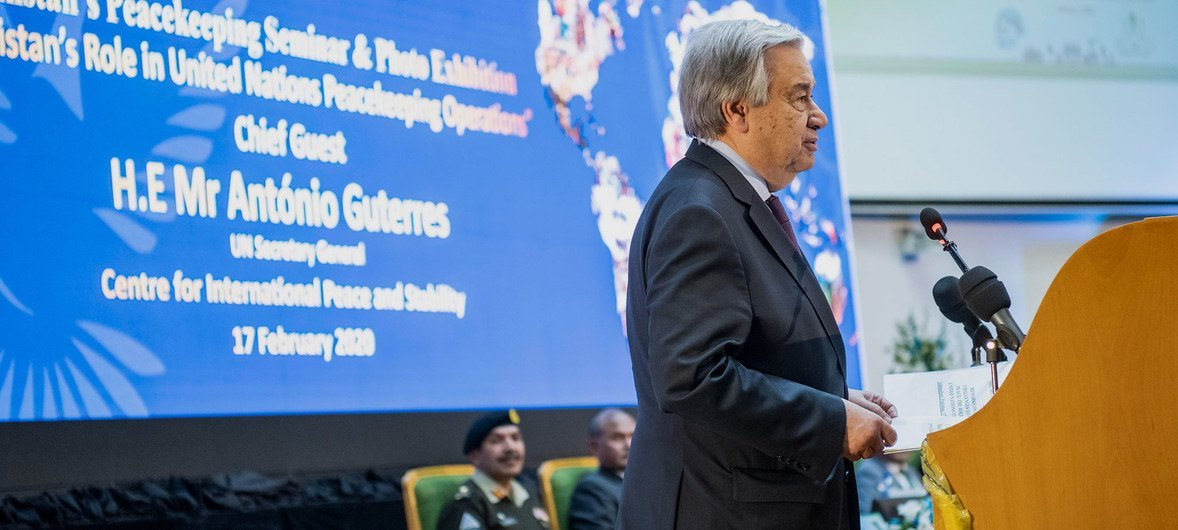 Secretary-General António Guterres speaks at the National University of Science and Technology in Islamabad, Pakistan on the topic of peacekeeping.