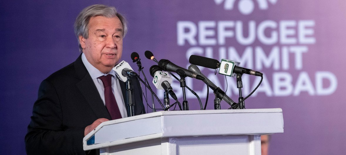 Secretary-General António Guterres addresses the International Conference on 40 Years of Hosting Afghan Refugees in Pakistan, in Islamabad.