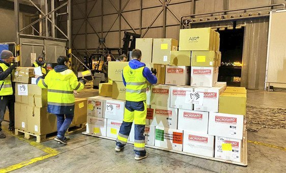 Medical items donated in Italy to fight the coronavirus outbreak are prepared for dispatch to China.