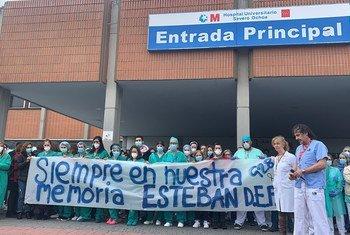 Imagem de tributo a enfermeira que perdeu a vida com Covid-19 em Hospital de Madri em abril