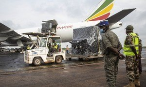 Déchargement  du matériel électoral d'un l'avion-cargo en RCA