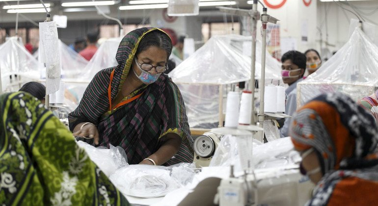Workers in a garment factory in Bangladesh.