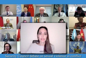 Angelina Jolie, Envoyée spéciale du Haut-Commissariat des Nations Unies pour les réfugiés, sur la violence sexuelle dans les conflits, intervient devant le Conseil de sécurité.