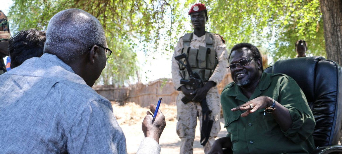 Special Adviser Adama Dieng meets with Riek Machar, former Vice President of South Sudan in the wake of mass killings in early April 2014 in Bentiu and Bor, South Sudan.