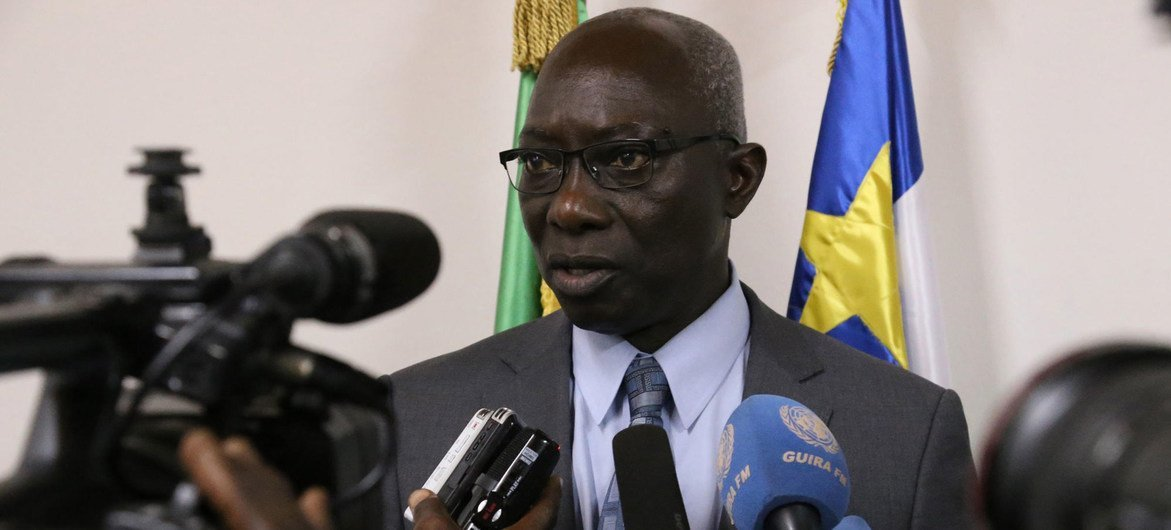 Adama Dieng, the UN Secretary-General's Special Adviser on the Prevention of Genocide, speaks with journalists during his visit to the Central African Republic. (October 2017)