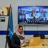 الناشطة السودانية نسرين الصائم، خلال اجتماع افتراضي للمجموعة الاستشارية مع الأمين العام للأمم المتحدة، أنطونيو غوتيريش.