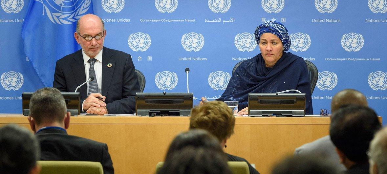 La vicesecretaria general Amina Mohammed junto al enviado especial del Secretario General para la Cumbre de Acción Climática Luis Alfonso de Alba.