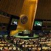 Tijjani Muhammad-Bande (sur les écrans et au centre), Président de la 74ème session de l'Assemblée générale, ouvre la première séance plénière le 17 septembre 2019.