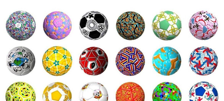 """Mais de 1.600 jovens artistas de 100 países enviaram desenhos e artes para serem estampadas em bolas de futebol relacionados ao tema """"Juntos pelo Esporte""""."""