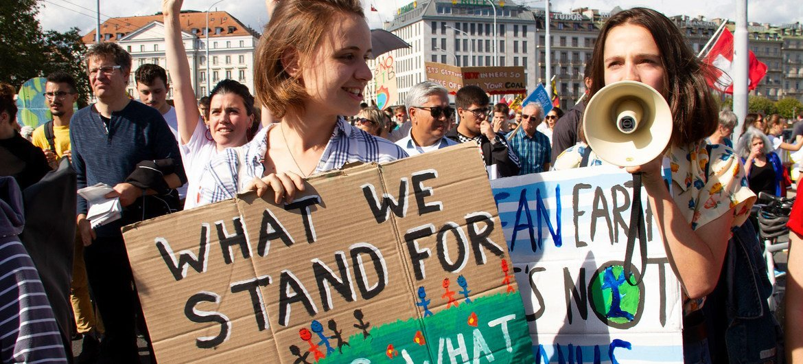 As part of the Fridays for Future school strikes, youth protest for climate action in Geneva in 2019. (file)