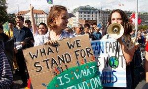 Des jeunes manifestent en faveur de l'action climatique à Genève en 2019 (photo d'archives).