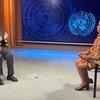 यूएन न्यूज़ की ऐसम्पटा मसोई, यूएन महासचिव के साथ विशेष बातचीत करते हुए (सितम्बर 2021)