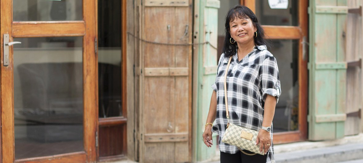 Emily Fernandez, a migrant worker from the Philippines currently employed in Qatar, enjoys a day off in the city.