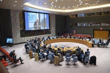 Martin Griffiths, enviado especial da ONU para o Iêmen, fala ao Conselho de Segurança por vídeo.
