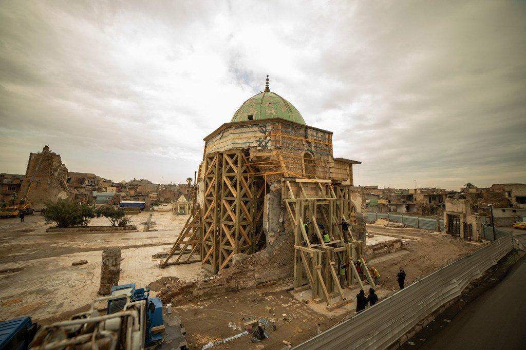 La mosquée Al-Nouri dans la ville iraquienne de Mossoul a été gravement endommagée pendant l'occupation par Daech.