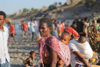 Des réfugié éthiopiens fuyant les violences dans la région du Tigré.