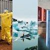 G à d : un chauffeur d'ambulance désinfecté après avoir transporté des cas suspects d'Ebola ; la lagune glaciaire de Jökulsárlón en Islande se développe constamment à partir d'un glacier qui rétrécit ; une exposition à l'ONU illustrant les 17 ODD