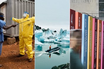 From left: Ambulance driver being disinfected after carrying suspected Ebola cases; Jökulsárlón Glacier Lagoon in Iceland is growing perpetually from a shrinking glacier; Display at UN Headquarters illustrating the 17 SDGs.