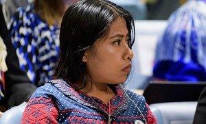 Yalitza Aparicio, actriz y embajadora de Buena Voluntad de la UNESCO, en el evento de clausura del Año Internacional de las Lenguas Indígenas en la Asamblea General de la ONU