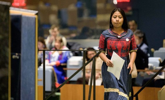 Actress Yalitza Aparicio and UNESCO Goodwill Ambassador for the indigenous peoples, about to address the United Nations General Assembly on the occasion of the 2019 International Year of Indigenous Languages.