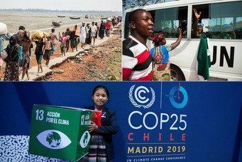 De g. à d. : Des Rohingyas du Myanmar arrivent à Cox's Bazar, au Bangladesh ; des Casques bleus au Libéria font leurs adieux ; la militante indienne pour le climat Licypriya Kangujam à la COP25.