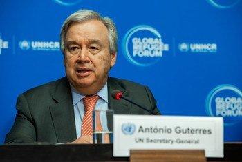 UN Secretary-General António Guterres briefs journalists during a press conference at the Global Refugee Forum in Geneva, Switzerland.