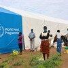 难民在肯尼亚北部卡库马难民营排队领取食物。