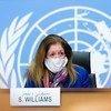 Stephanie Turco Williams, Représentante spéciale par intérim du Secrétaire général et chef de la Mission d'appui des Nations Unies en Libye, lors d'une conférence de presse à Genève