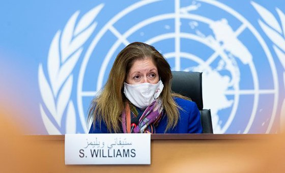 Acting Representative of the Secretary-General for Libya, Stephanie Williams, during a press conference in Geneva.
