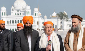 UN Secretary-General António Guterres meets religious leaders at Gurdwara Kartapur Sahib in Punjab province in Pakistan.
