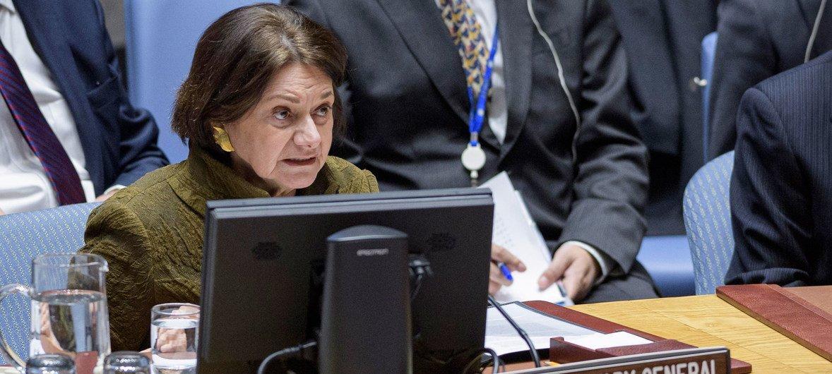 Розмари Дикарло, заместитель Ггенсека по политическим вопросам выступила в Совете Безопасности ООН.