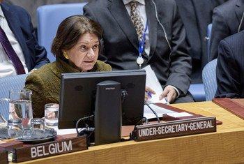 联合国主管政治事务的副秘书长罗斯玛丽·迪卡洛向联合国安理会通报乌克兰局势。