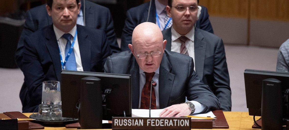 Постпред РФ при ООН Василий Небензя на заседании Совбеза по Украине.