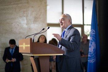 Ghassan Salamé, Représentant spécial du Secrétaire général pour la Libye, lors d'un point de presse à Genève.