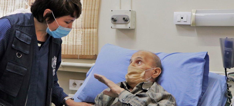 Un paciente con COVID en Siria.