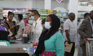 Shoppers at a mall in Dar es Salaam as new measures are being implemented following the announcement of corona virus cases in the country.