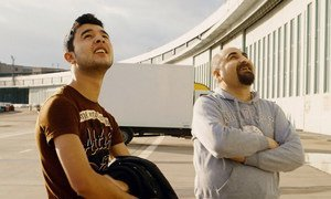 During one year the documentary followed the lives of Syrian student Ibrahim (left) and Iraqi physiotherapist Qutaiba (right).