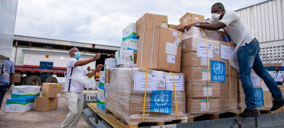 WHO delivered medical supplies to fight the COVID-19 pandemic to the Republic of Congo in April 2020.